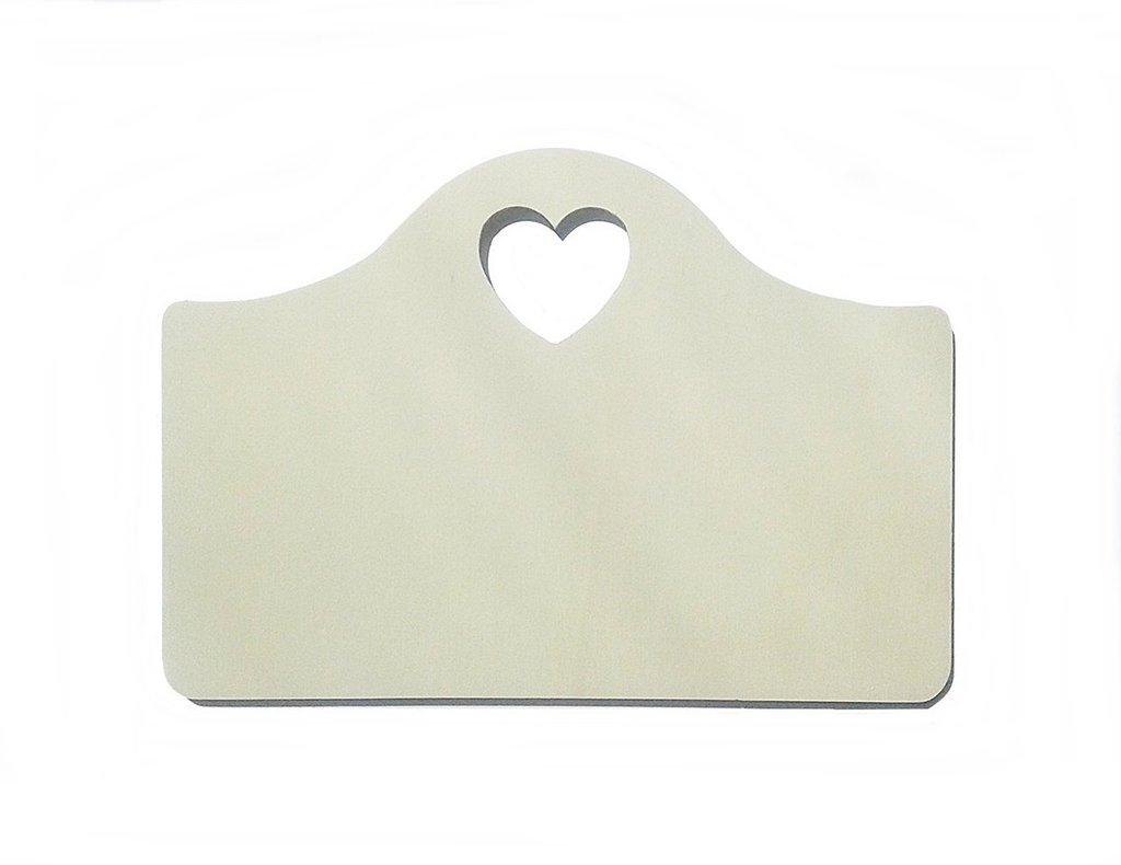 targhetta targa in legno cuore traforato per hobby creativi 2pz 25 x 18 cm