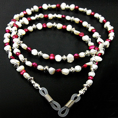 CORDINO OCCHIALI vere perle laccetto effetto collana