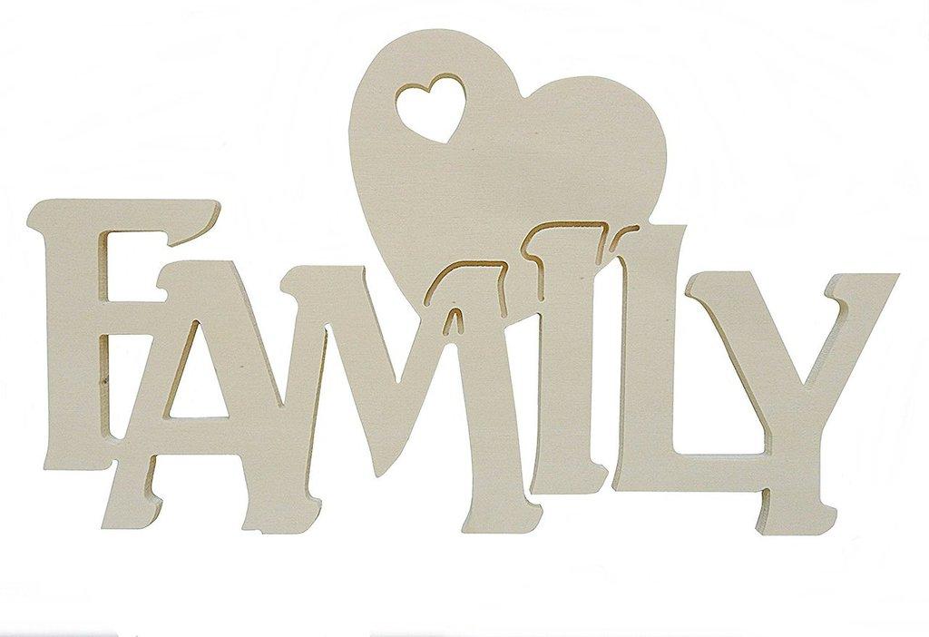 Scritta in legno  Family con cuore cm L 30 x 18 h spessore 8 mm