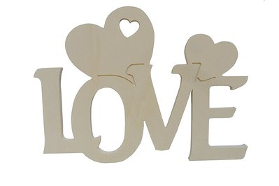 Scritta in legno  Love con cuori cm L 24 x 18 h spessore 8 mm