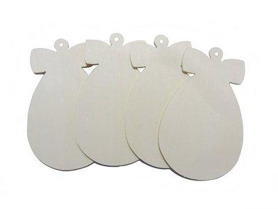Sagoma Uovo con fiocchetto Fai da te in legno da decorare 4 pz cm 8 x 4
