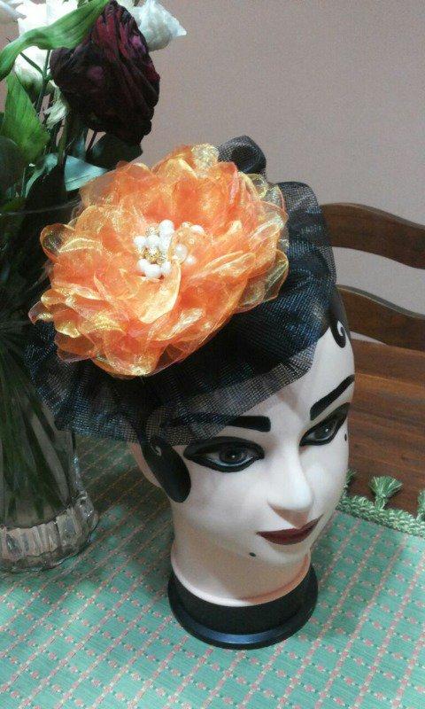 veletta con fiore in organza arancio