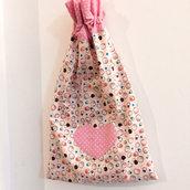 Sacchetto in cotone cuore rosa