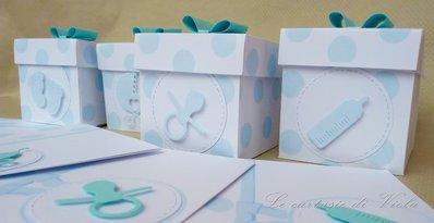 Bomboniera scatolina portaconfetti a pois azzurri per battesimo nascita baby shower