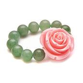 Bracciale elastico regolabile con avventurina verde e grande fiore in resina di colore rosa - Benessere cristalloterapia pietre dure