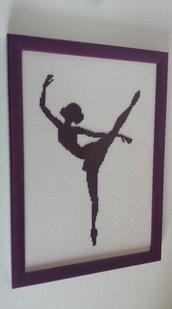 Quadro ballerina punto croce