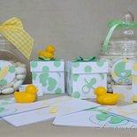 Bomboniera scatolina portaconfetti a pois giallo o verde per battesimo nascita baby shower