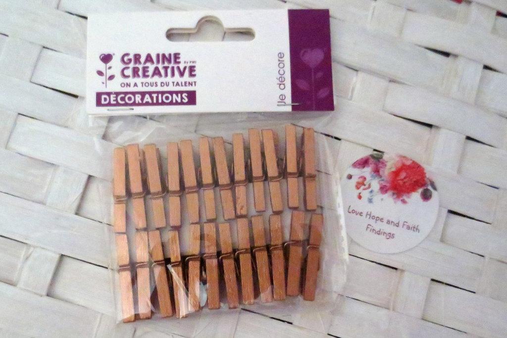 LOTTO 24  mini mollette in legno color rame (cod new)
