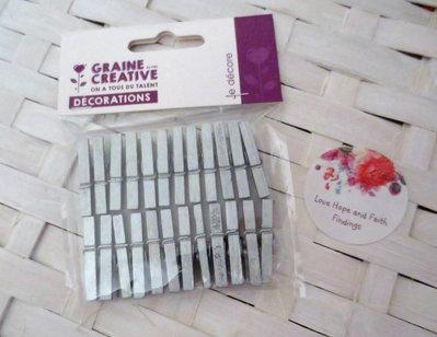 LOTTO 24  mini mollette in legno color argento (cod new)
