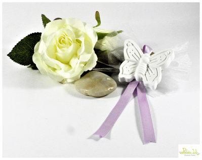 farfalla, segnaposto o bomboniera, in gesso ceramico, bianco.  minimo 5 pz. personalizzabili - vari tipi