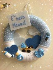 Fiocco azzurro con ceramiche