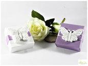scatola porta confetti quadrata con farfalla in gesso ceramico di medie dimensioni. colori a scelta - personalizzabile