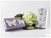 scatolina rettangolare con farfalline in gesso ceramico piccole dimensioni - personalizzabile nei colori - portaconfetti