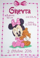 Quadretto nascita - fiocco nascita - BABY MINNIE ORSETTO -punto croce- B87