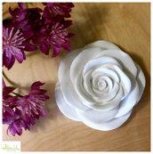 Rosa in gesso ceramico profumato bianco o colorabile - diametro 10 cm - idea regalo o bomboniera