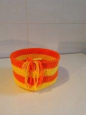 Cestino bicolor in lana