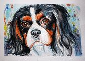 Ritratto ad acquerello cane cavalier king charles spaniel