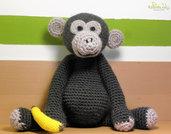 Scimmia fatta ad uncinetto con filato 100% lana - amigurumi - pupazzo