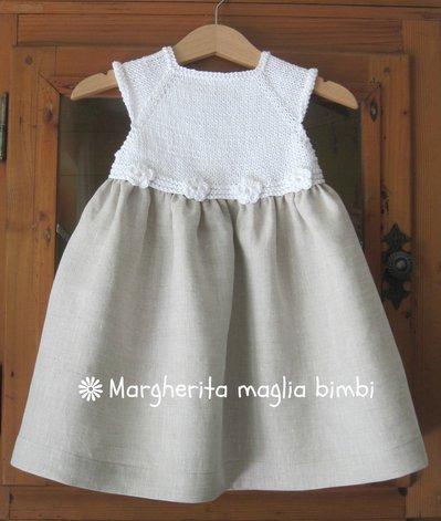 Abito/vestitino bambina puro lino, puro cotone bianco con fiori uncinetto - Battesimo!