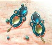 Turquoise lime orecchini soutache
