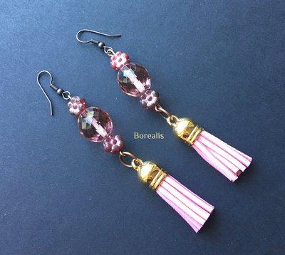 Orecchini Bohémienne Fiori Rosa Cristalli di Boemia