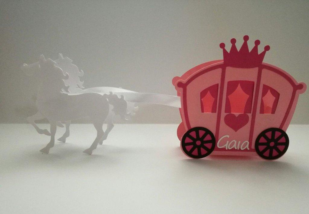 SCATOLINA PORTA CONFETTI segnaposto nascita compleanno carrozza cavalli evento