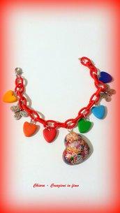 Bracciale handmade con charms in resina e fimo multicolore primavera idee regalo donna