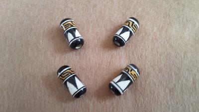 4 perle 'Cilindro disegno a mano peruviano' in porcelana