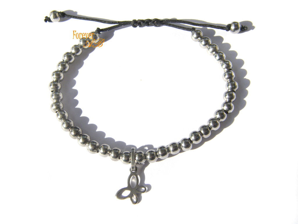 Braccialetto con perline in acciaio con farfalla su cordino nero idea regalo donna