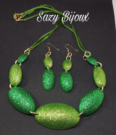 PEA Collana e Orecchini in Gomma Eva glitterata-Verde chiaro e scuro