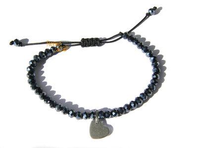 Braccialetto perline sfaccettate nero e ciondolo cuore idea regalo donna ragazza