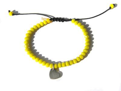 Braccialetto perline sfaccettate giallo e ciondolo cuore idea regalo donna ragazza