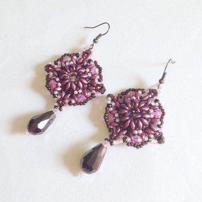 Orecchini Baroque rosa e viola