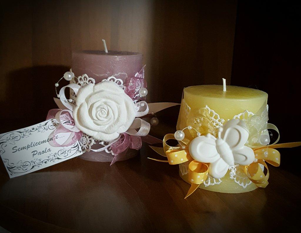 Candele decorate con gesso o stoffa