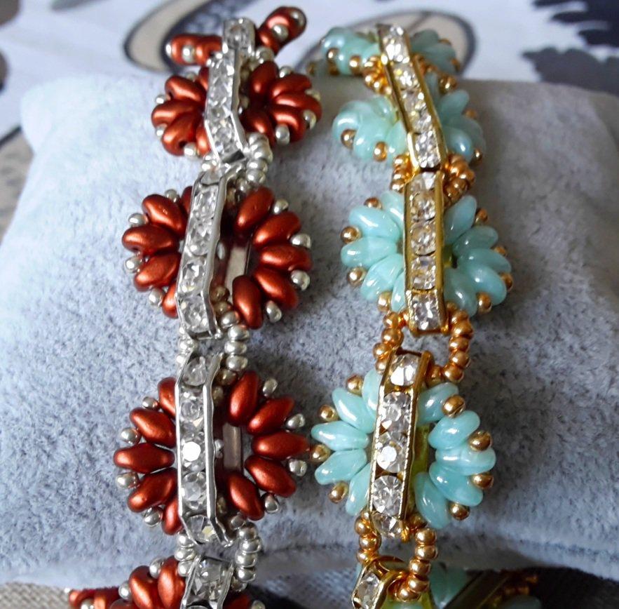 Braccialetto con perle superduo barrette e strass