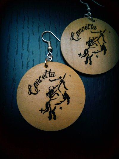 Orecchini segno zodiacale in legno
