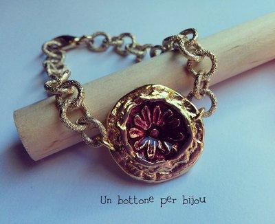 Bracciale/braccialetto con bottone gioiello vintage