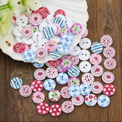 10 bottoni in legno stampati 15 mm