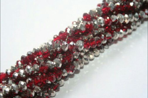 100 RONDELLE ROSSO PLATED 3X4mm
