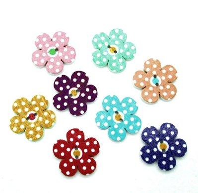 10 bottoni in legno colorati a pois a forma di fiore