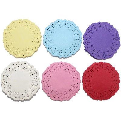 10 centrini in carta colorati