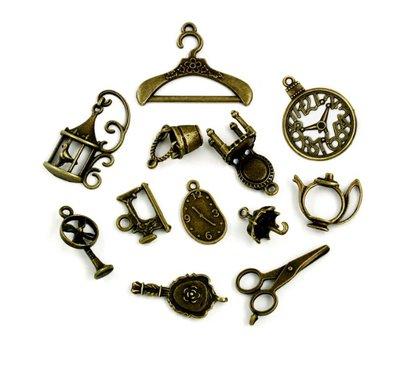 12 charms grandi color bronzo in stile vintage