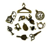 12 charms grandi color bronzo in stile vintage