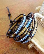 Bracciale Bohemian in cuoio, Chan Luu Style, Bronzo, Beige, Azzurro, Rame, idea regalo per lei
