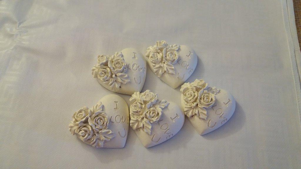 Cuore i love you con rose in gesso ceramico profumato per il fai da te
