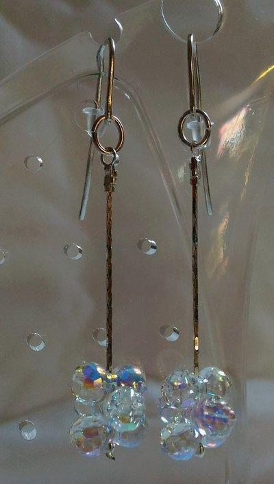 Orecchini in argento 925 e swarovski modular crystal ab