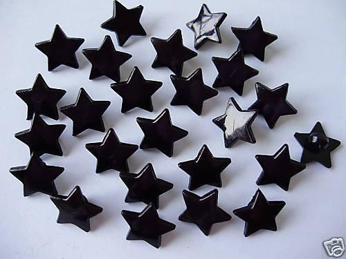 10 BOTTONI STELLA NERA PLASTICA - heart buttons