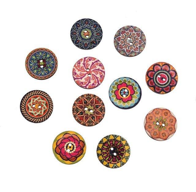 10 bottoni in legno in stile vintage