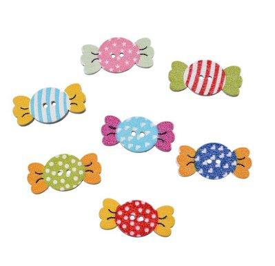 10 bottoni in legno a forma di caramella