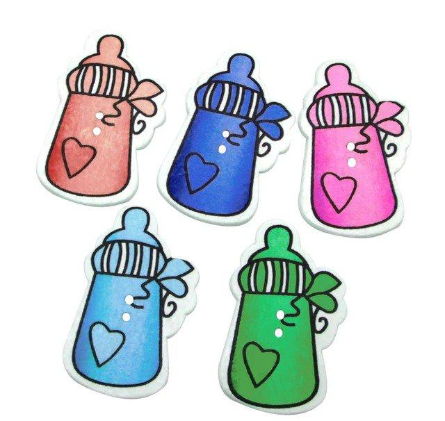 10 bottoni in colorati legno stampati a forma di biberon